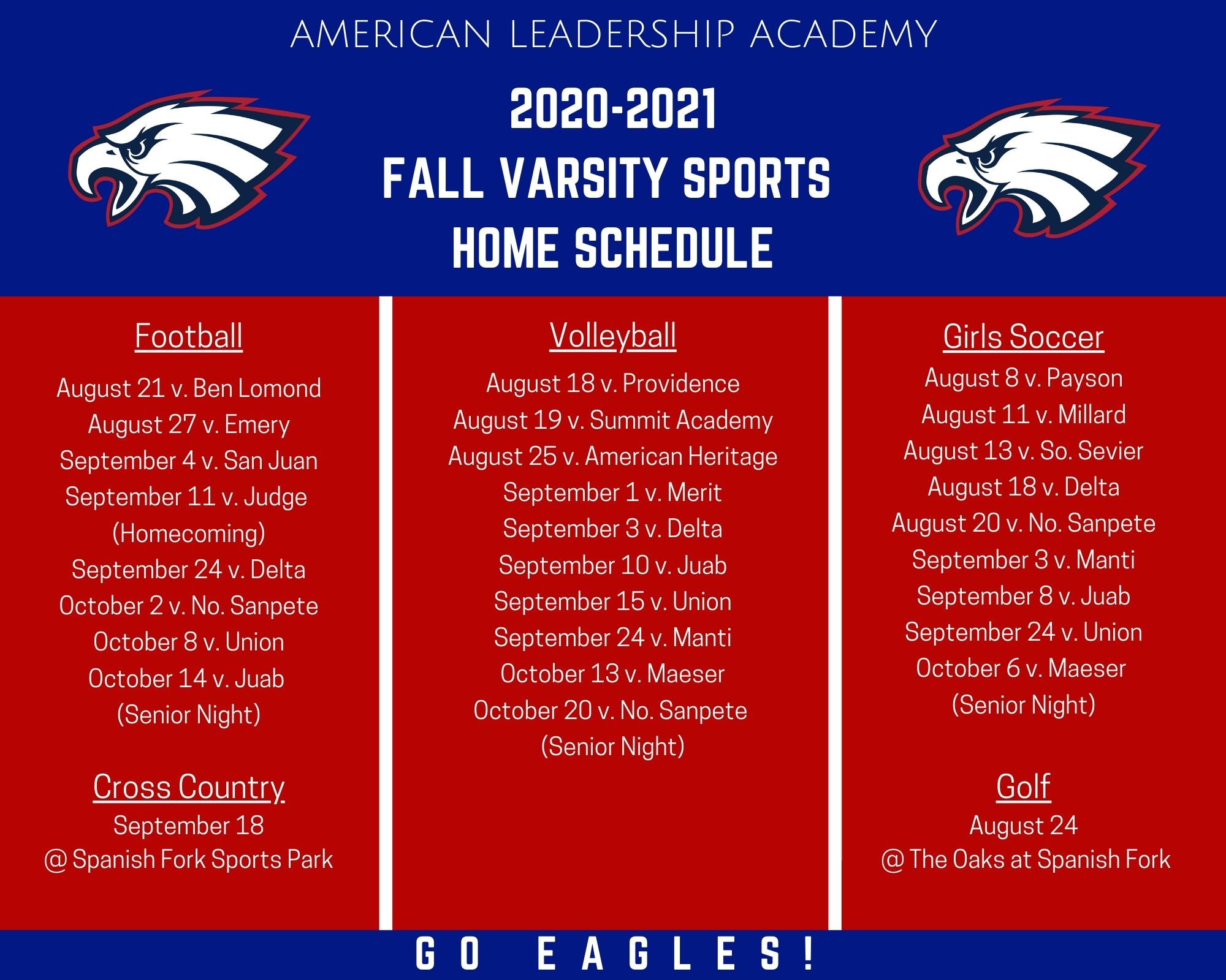 2020-2021 FALL VARSITY SPORTS SCHEDULE