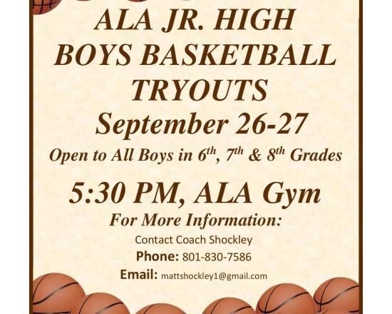 ALA Jr. High Boys Basketball Tryouts