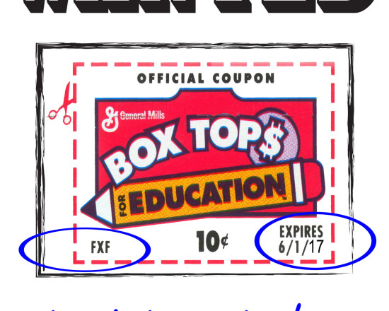 Elementary Box Tops Due October 21st