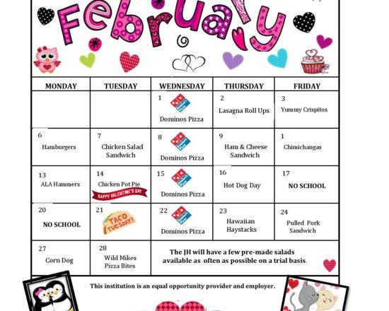 February's Lunch Menu