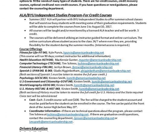 Secondary Summer School Information