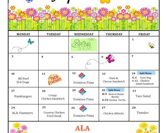 April's Lunch Menu