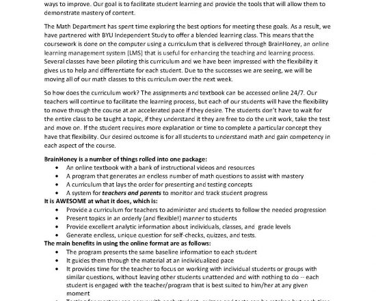 New Math Curriculum for Secondary School