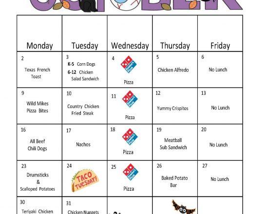 October School Lunch Menu