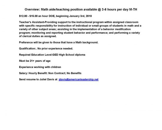Secondary Math Aide/Teaching Position