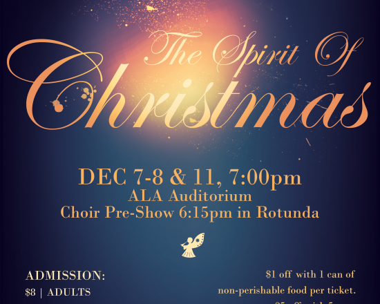 """""""The Spirit of Christmas"""" December 7th, 8th and 11th"""