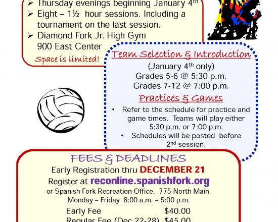 Sign Ups for Spanish Fork City Winter Programs