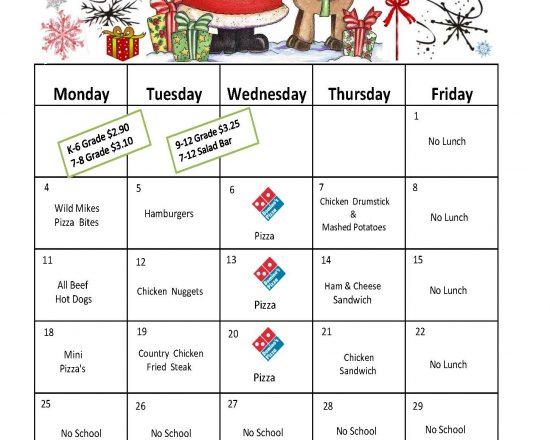 December's School Lunch Menu