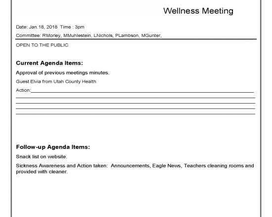 ALA Wellness Meeting on Thursday, Jan. 18th at 3:00 p.m.