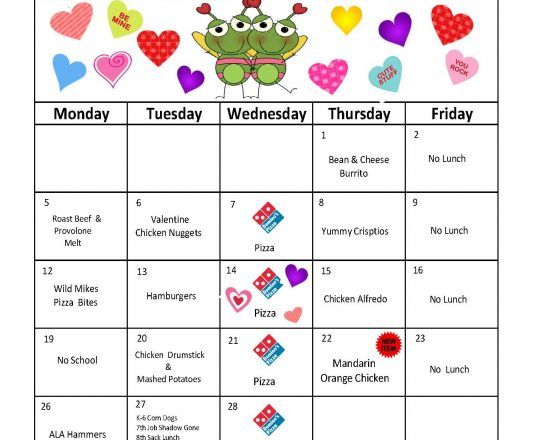 View and Download the February Lunch Menu