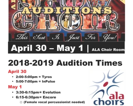 2019 ALA Choir Auditions April 30th-May 1st