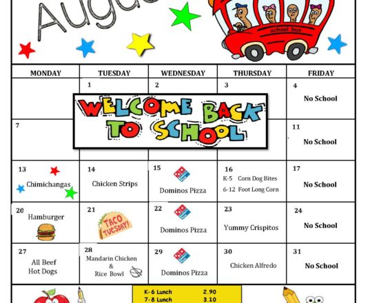 August School Lunch Menu