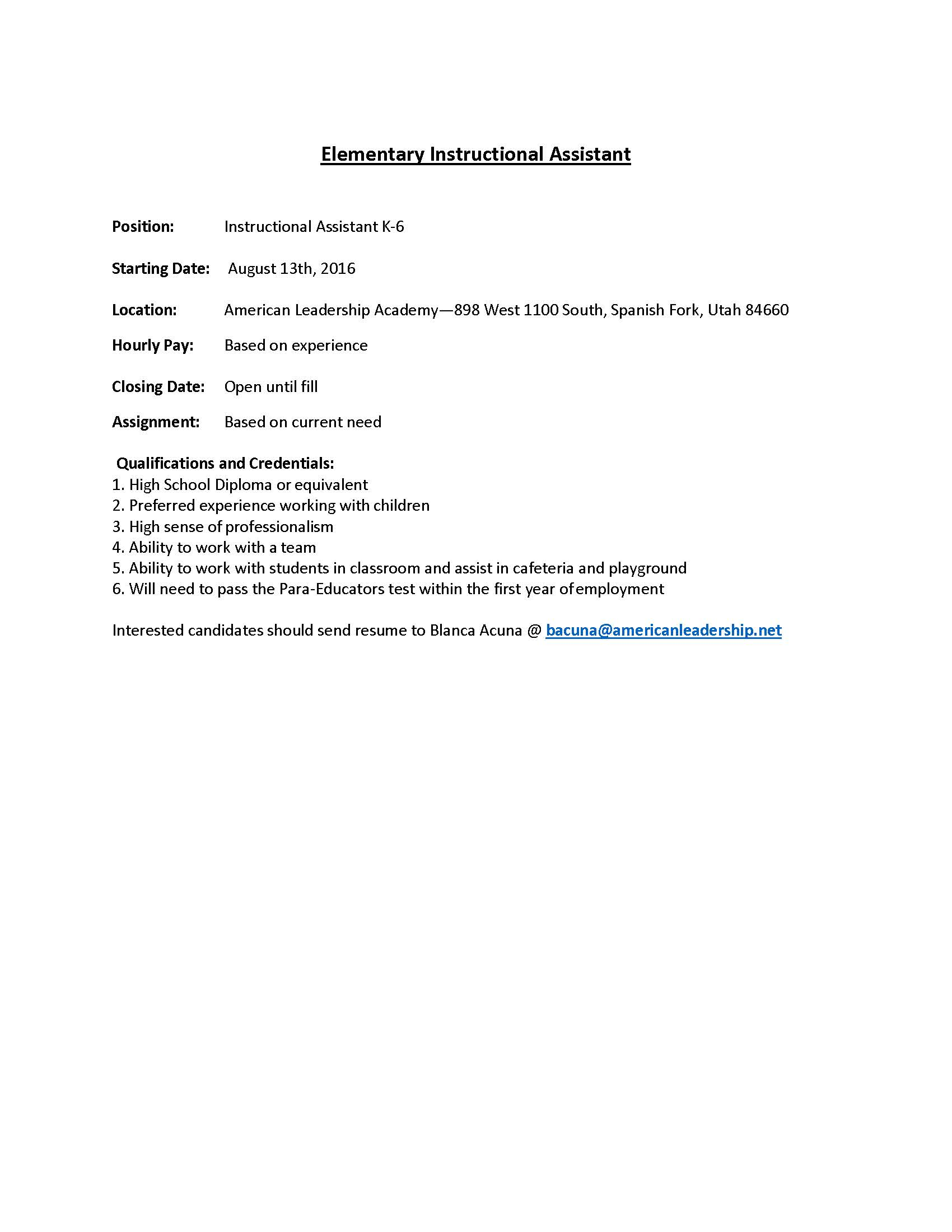 Elementary Instructional Assistant Openings American Leadership