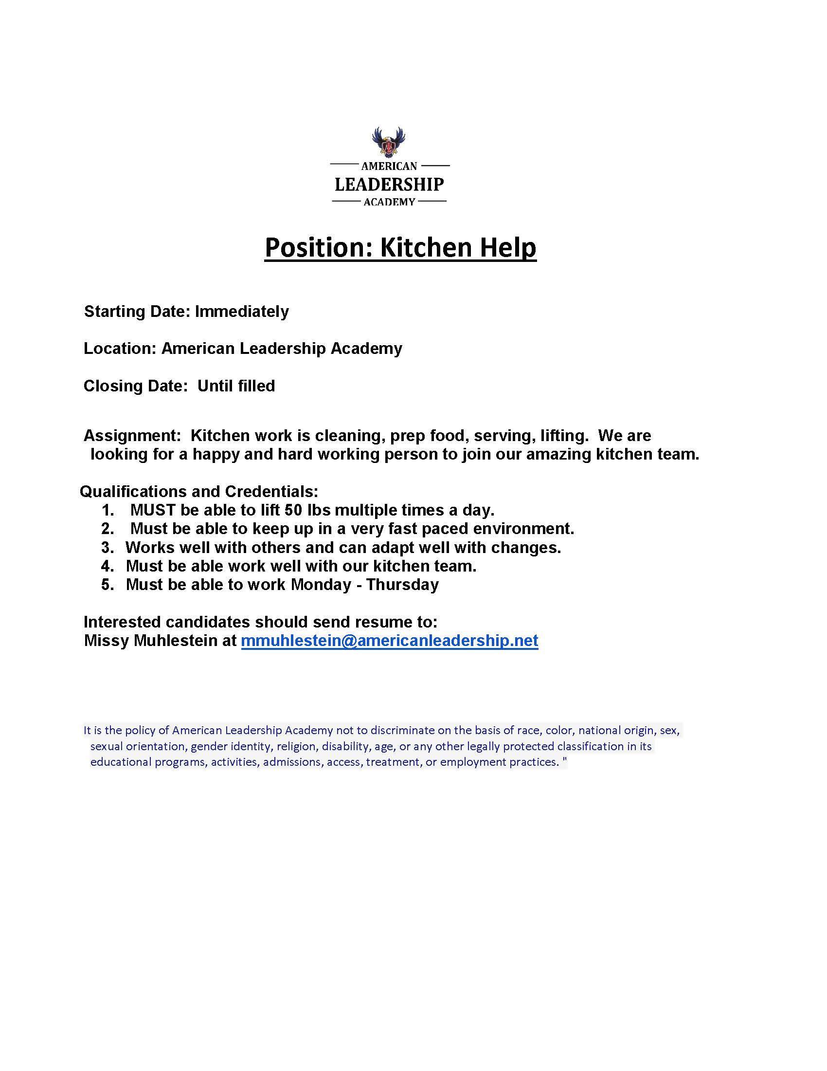 American Leadership Academy Is Looking For A Happy And Hard Working Person To Join Our Amazing Kitchen Team View The Job Description Below Or Download It