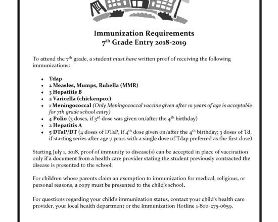 Important Information Regarding Immunizations