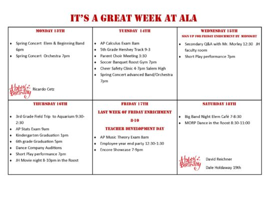 Upcoming Events at ALA