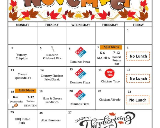 October's School Lunch Menu