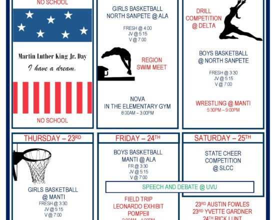 Upcoming Events for Jan. 20th- Jan. 25th
