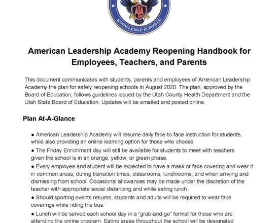 ALA Reopening Handbook for Employees, Teachers, and Parents