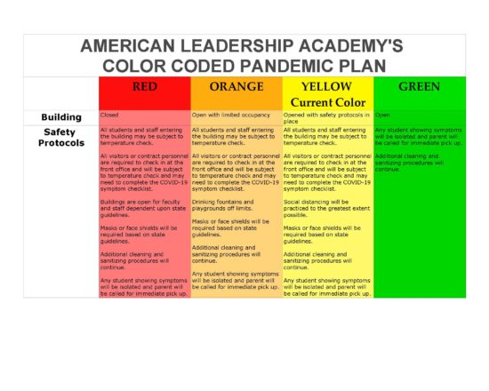 ALA's Pandemic Plan for 2020-2021 School Year