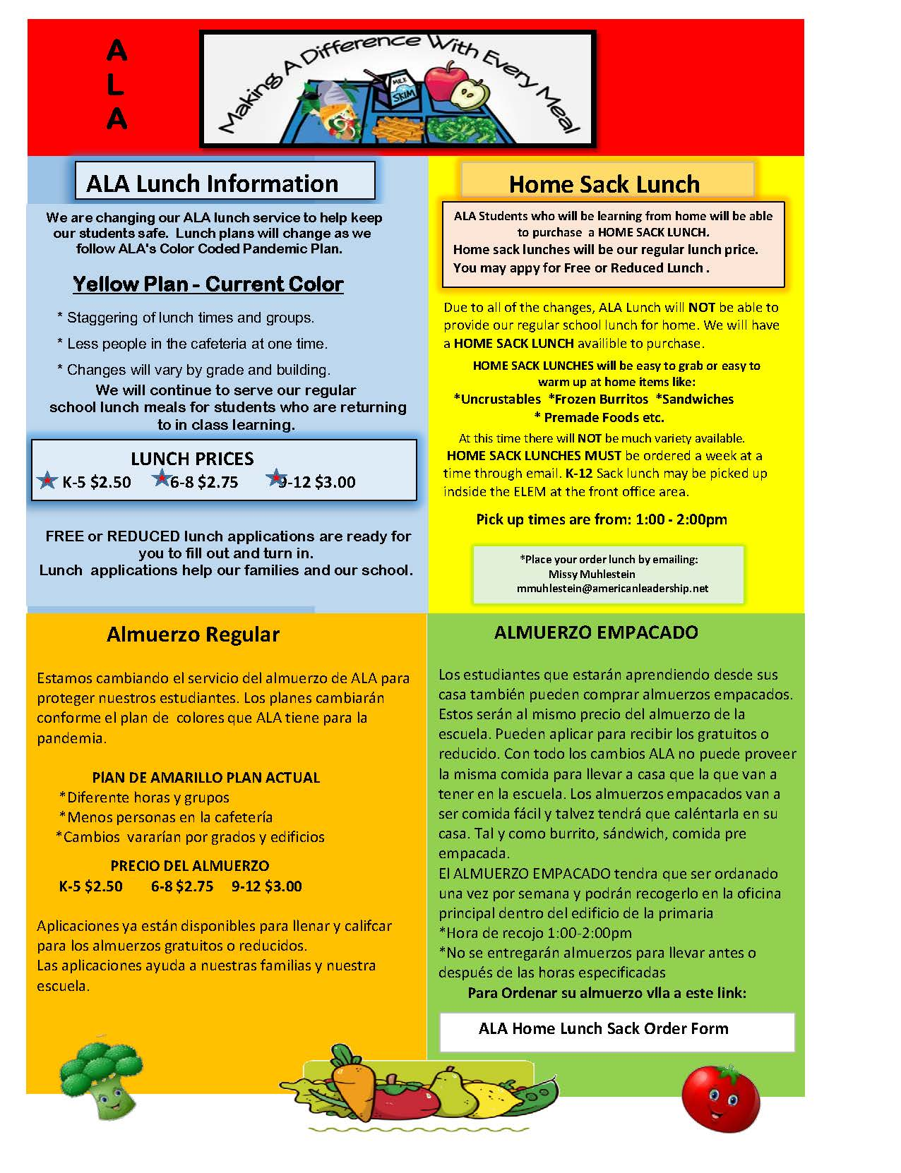 ALA LUNCH NEWSLETTER AND MONTHLY LUNCH MENU