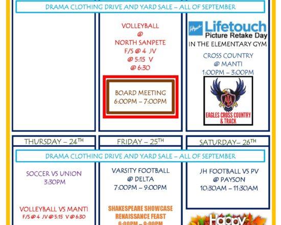 Upcoming Week for September 21st- September 26th