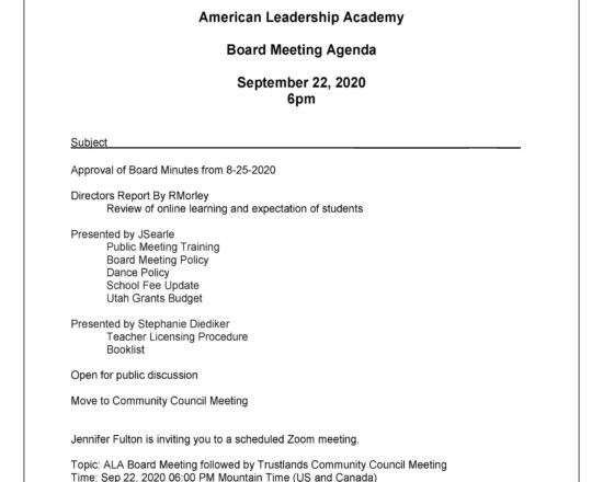 ALA OPEN BOARD AND COMMUNITY TRUSTLAND COMMITTEE MEETING ON SEPTEMBER 22ND, 2020