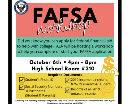 FAFSA WORKSHOP ON OCTOBER 6TH