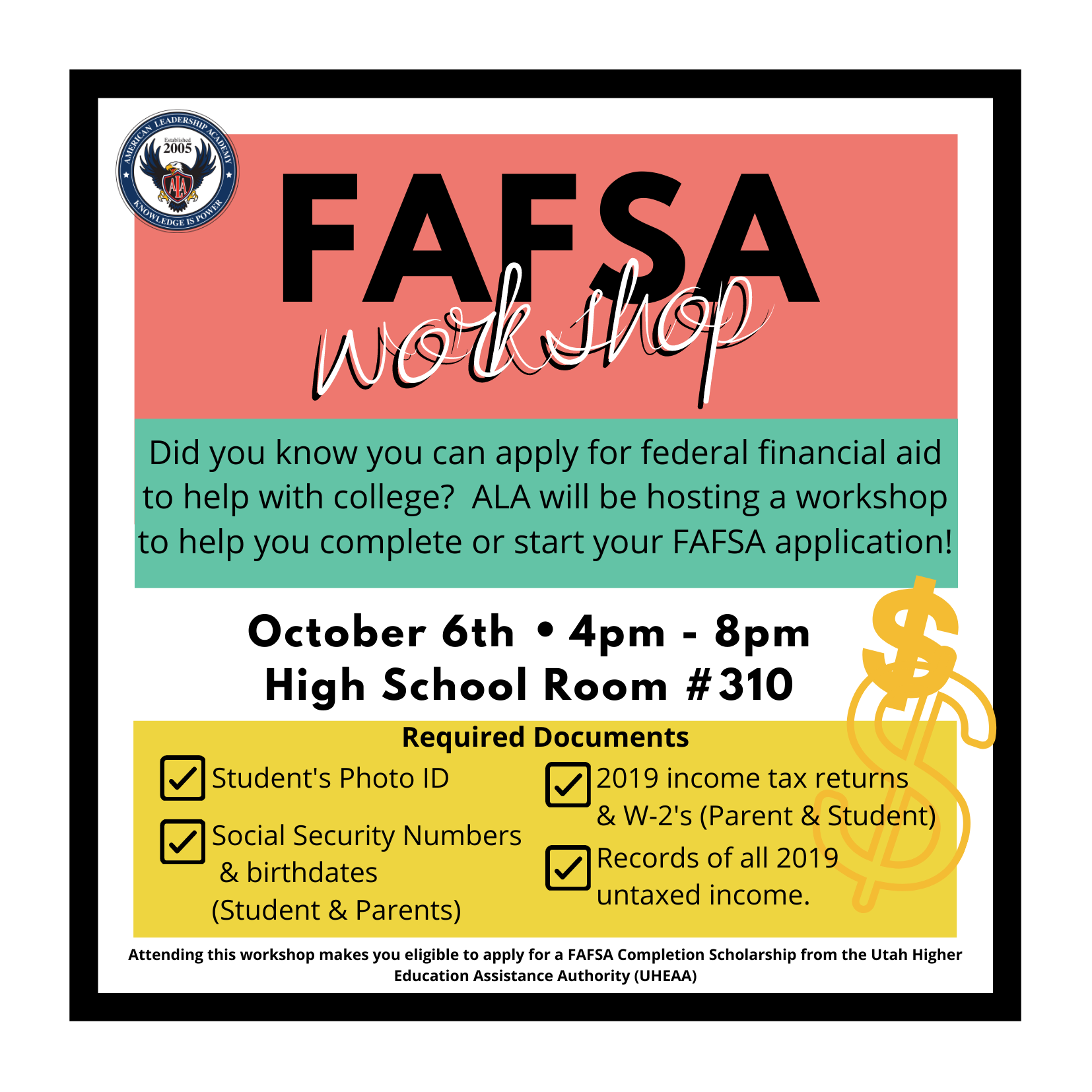FAFSA WORKSHOP ON OCTOBER 6TH