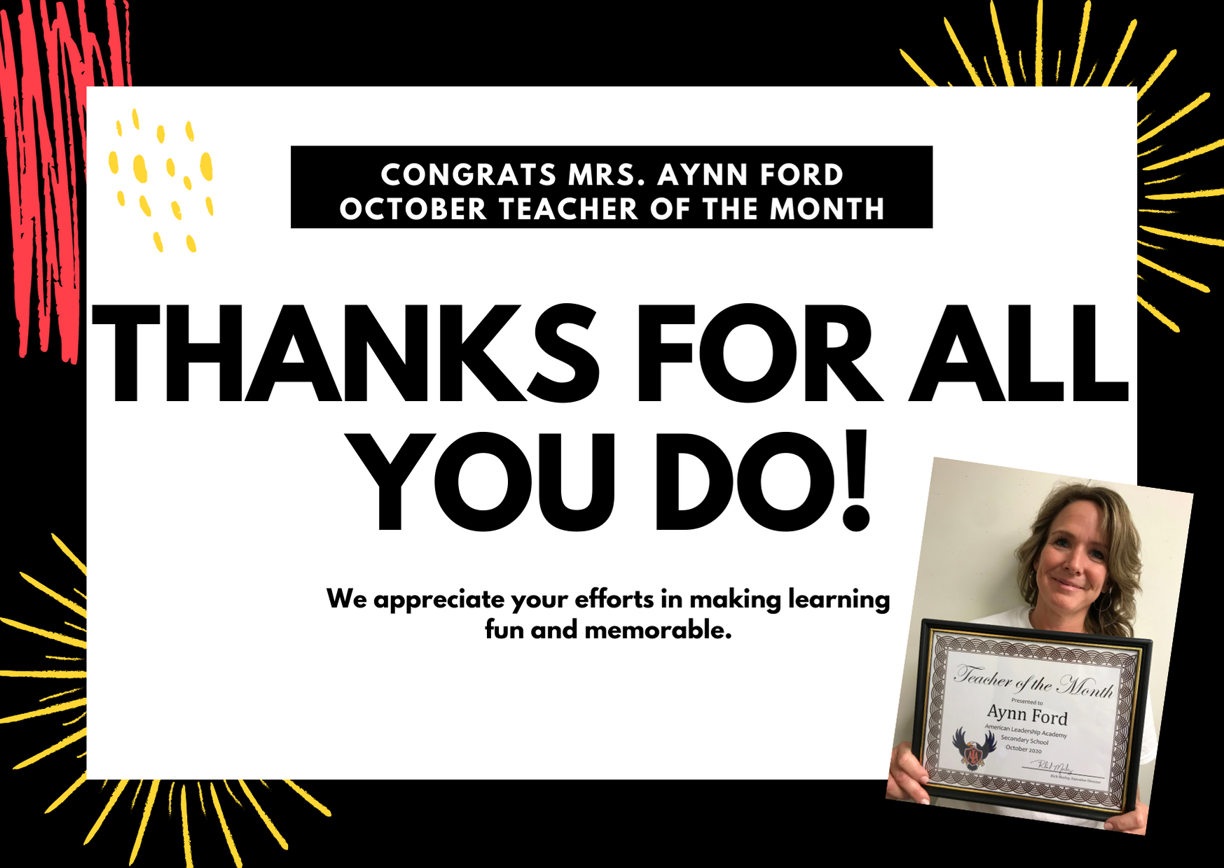 Congratulations to Ms. Aynn Ford