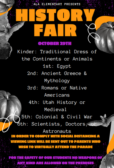 ELEMENTARY HISTORY FAIR ON OCTOBER 29TH