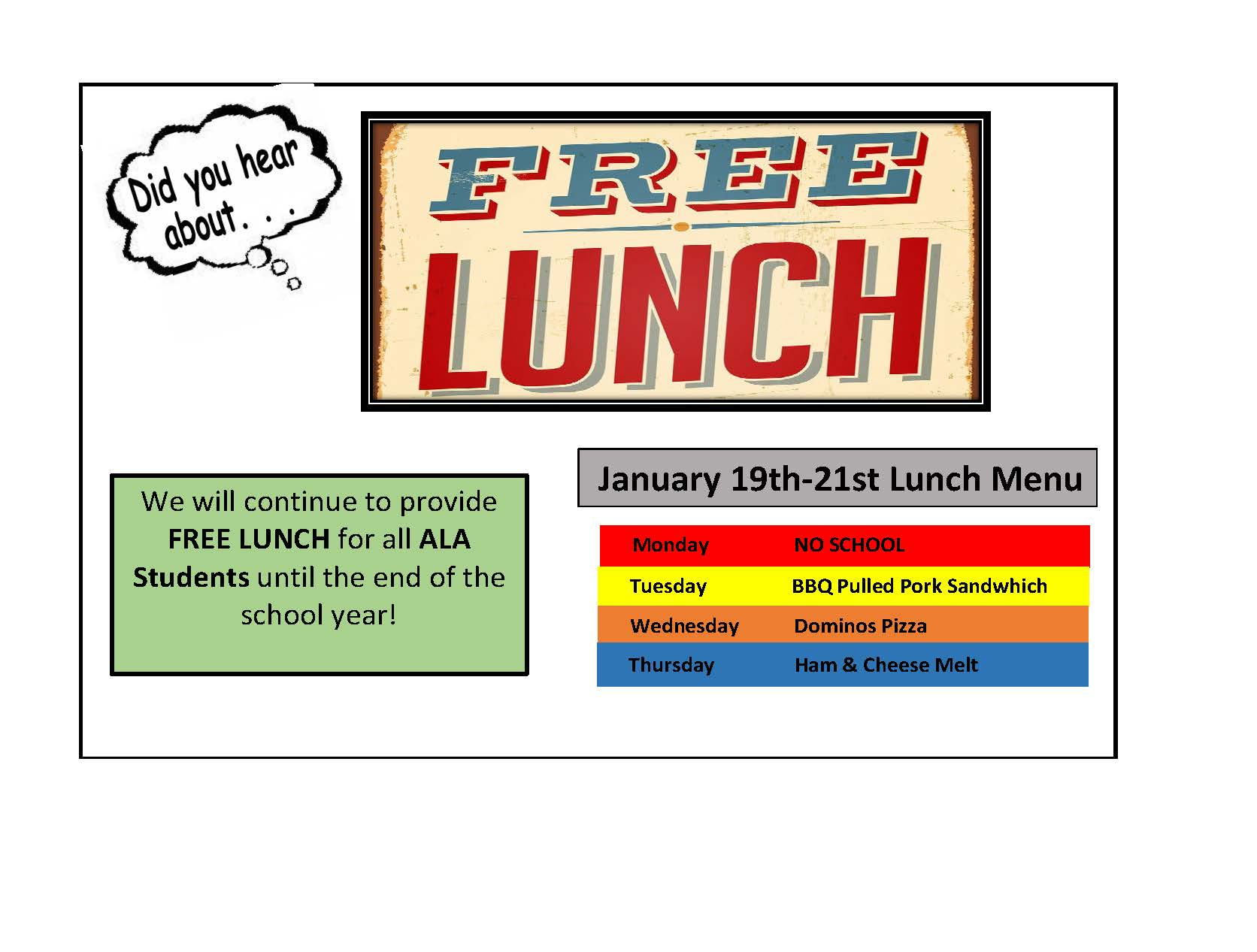 LUNCH MENU FOR JANUARY 19TH-21ST