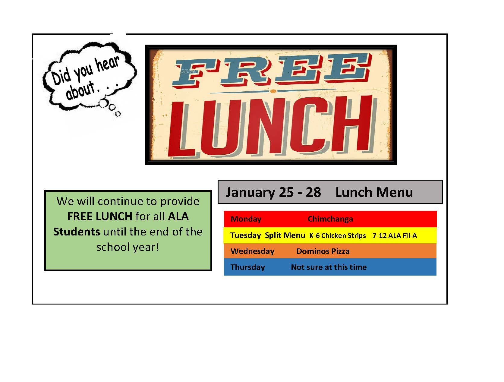 LUNCH MENU FOR JANUARY 25TH-28TH