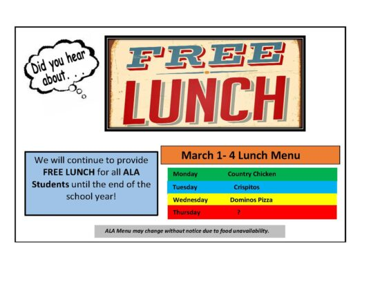 Lunch Menu for March 1st-4th
