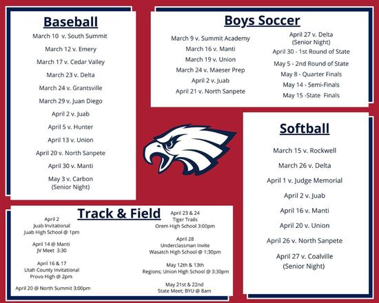 2020-2021 Spring Varsity Sports Home Schedule