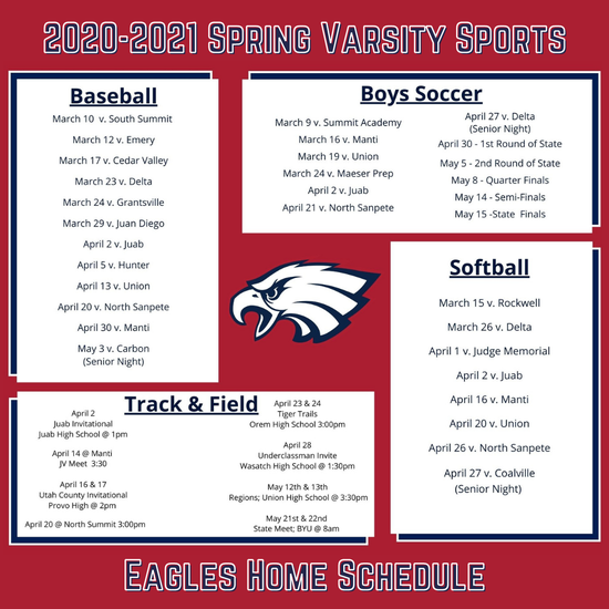 2020-2021 Spring Varsity Sports Home Schedule
