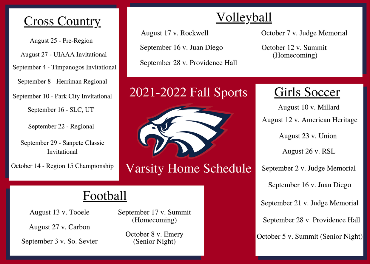 2021-2022 Fall Varsity Sports Home Schedule