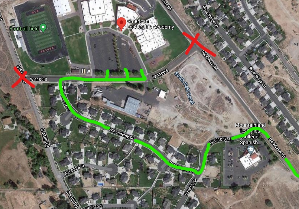 ALTERNATE ROUTE WHILE DELMONTE RD & MILL RD ARE CLOSED