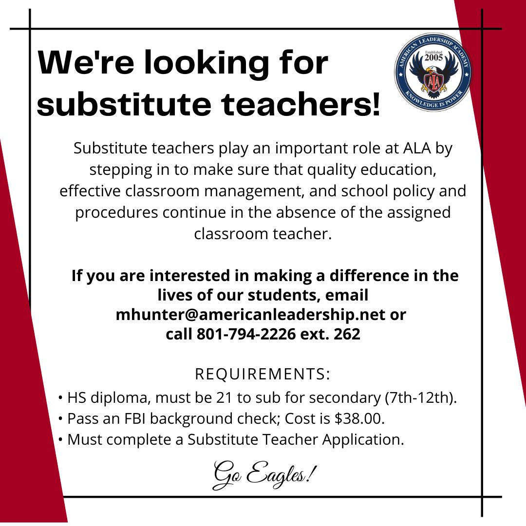 ALA is Hiring Substitute Teachers