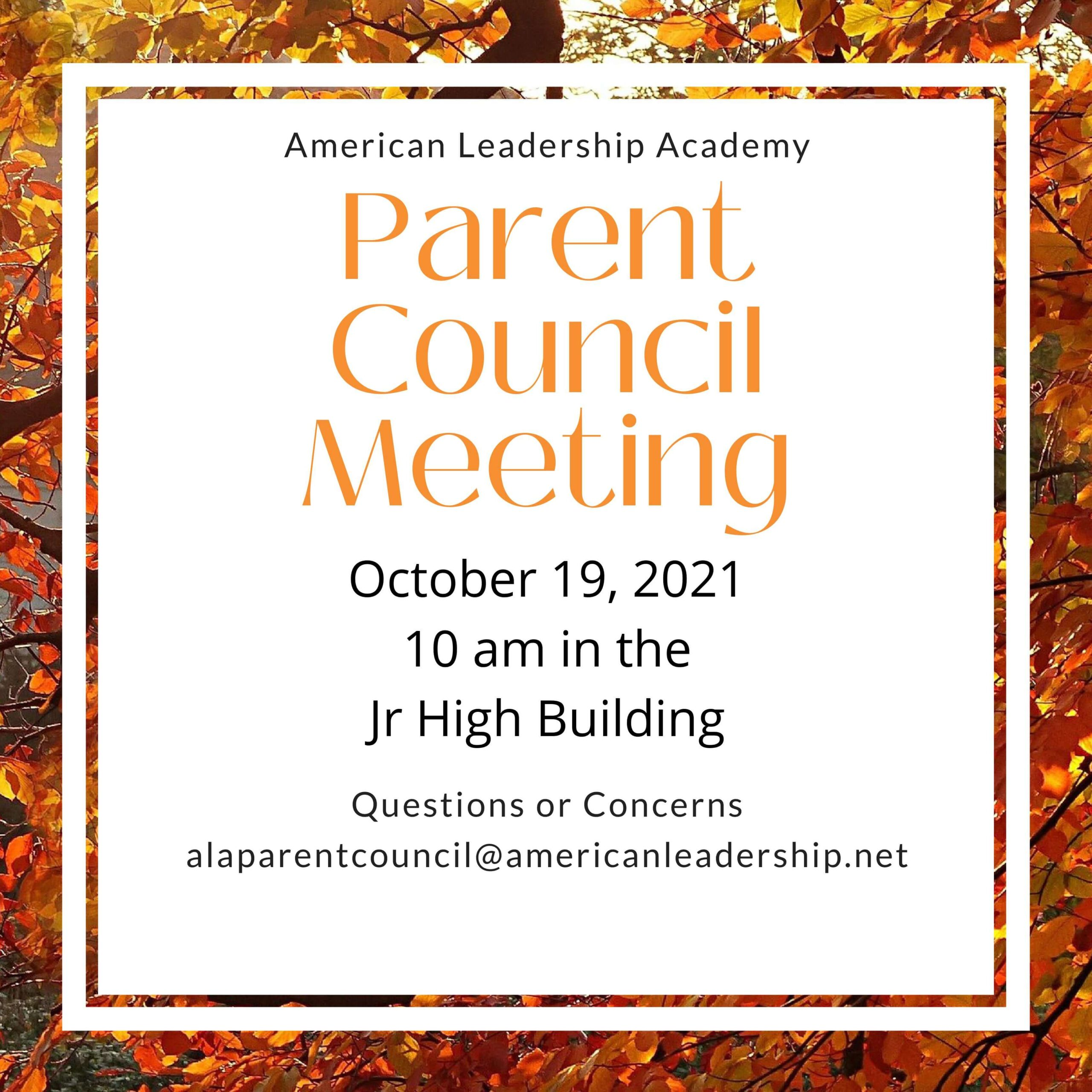 Parent Council Meeting on October 19th